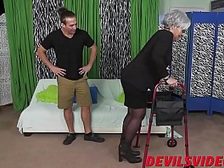 Naughty granny makes young guy hard