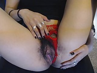 Young Wet Hairy Pussy Is Teased then Fingered, Red Panties