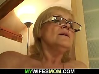 70 yo blonde granny rides his young meat