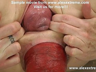 DGG in huge dildo plus both holes prolapse