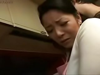 Hot Japanese Asian Mom fucks will not hear of Son prevalent Cookhouse