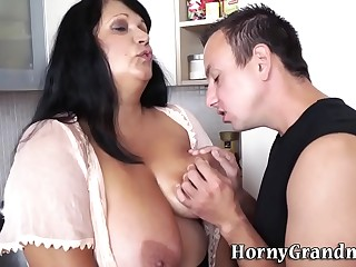 Titfucking domineer granny gets pounded