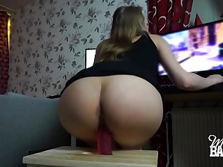 Horny gamer girl rides dildo, sucks and gets fucked while playing