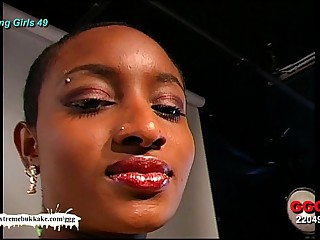 Ebony Tot Audry be passed on Cum aim - Extreme Bukkake