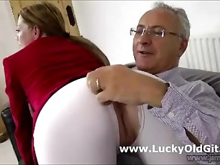 Cute british horse rider sucks off patriarch british guy on love-seat