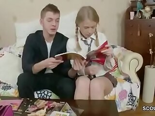 Tiny Blonde Virgin Schoolgirl get First Fuck by Huge Cock classmate at during Homework